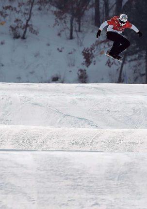 Durante la final de snowboardcross en los Juegos de Invierno de 2018 (COE/Casares)